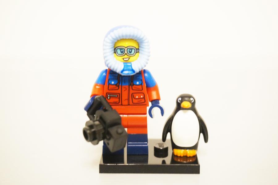 レゴミニフィグ野生生物写真家とペンギン